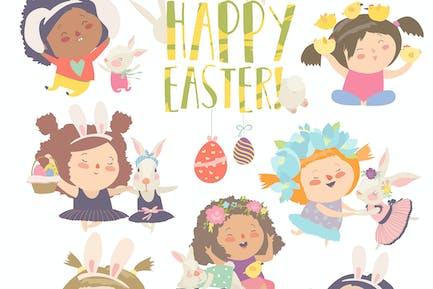 Niedliche kleine Mädchen mit Ostern Thema. Frohe Ostern.