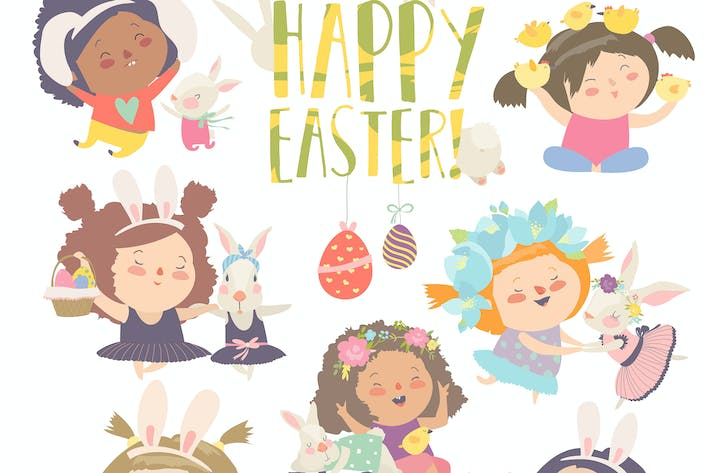 Thumbnail for Cute little girls with Easter theme. Happy Easter.