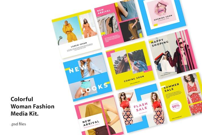 Thumbnail for Kit de médias sociaux Colorfull Fashion