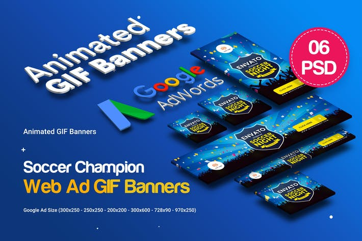 Thumbnail for Animated GIF Soccer Champion Banners Ad