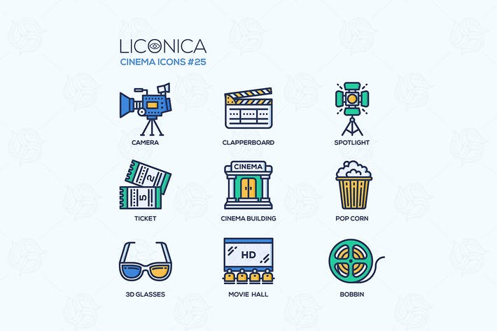 Thumbnail for Cinema - modern vector flat line design icons set