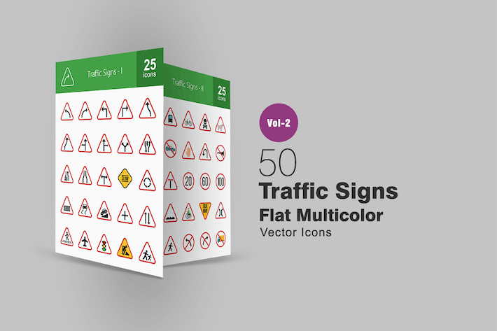 50 Traffic Signs Flat Multicolor Icons