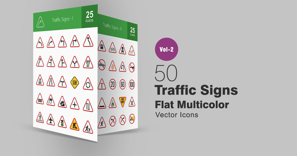 Download 50 Traffic Signs Flat Multicolor Icons by IconBunny