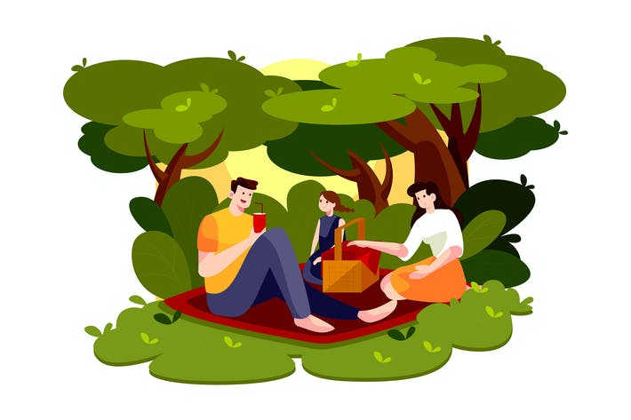 Thumbnail for People on picnic outdoor with food