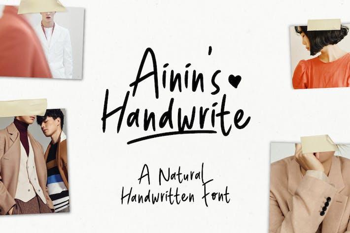 Thumbnail for Ainin's Handwrite Font | Playfull Fun Typeface