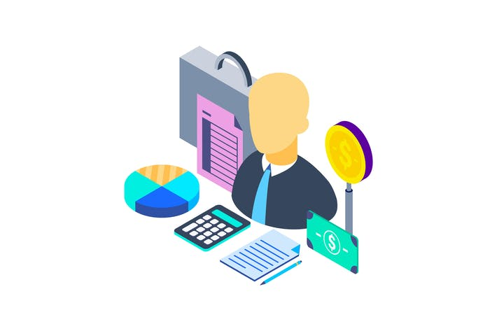 Thumbnail for Financial Advisor Isometric Illustration