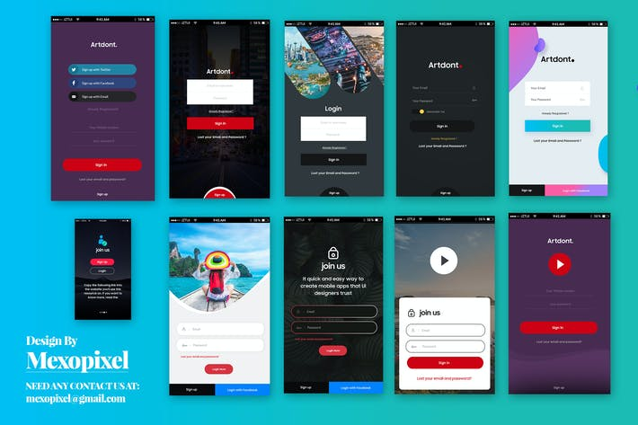 Thumbnail for SignUp / Login - Mobile app Form UI Kit Elements