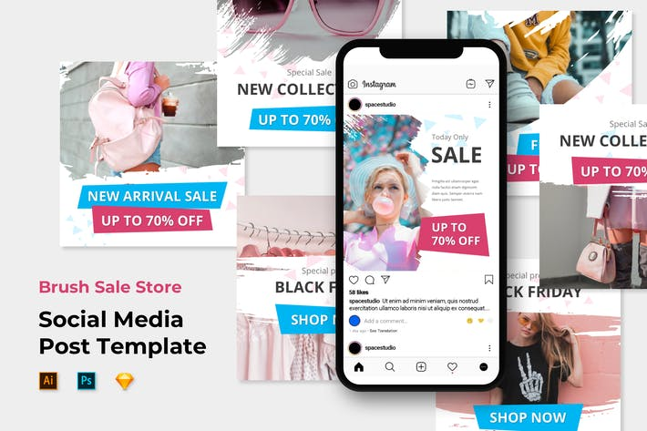 Thumbnail for Instagram Post Feed Templates - Brush Sale Store