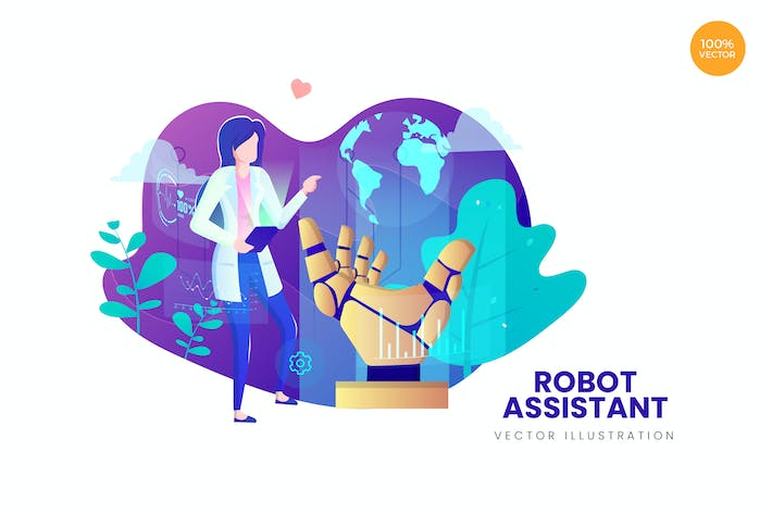Thumbnail for Robot Assistant Vector Illustration Concept