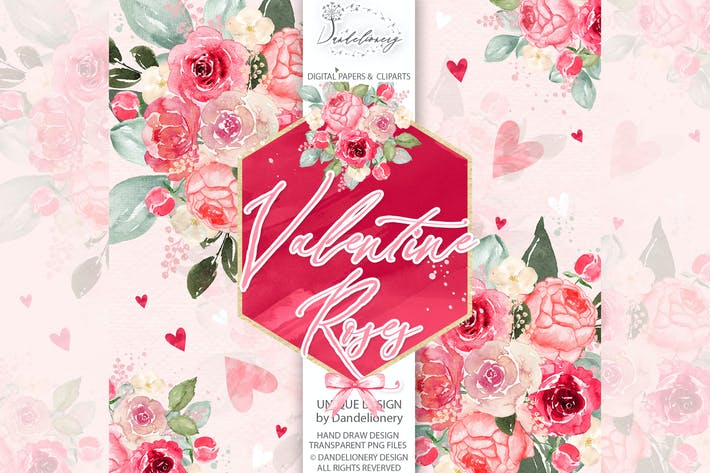 Thumbnail for Watercolor Valentine Roses design