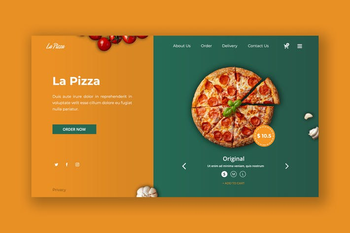 Thumbnail for Delicious Pizza Hero Header PSD Template