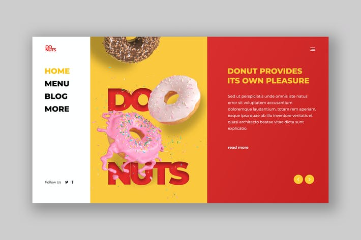 Thumbnail for Donut Hero Header PSD Template