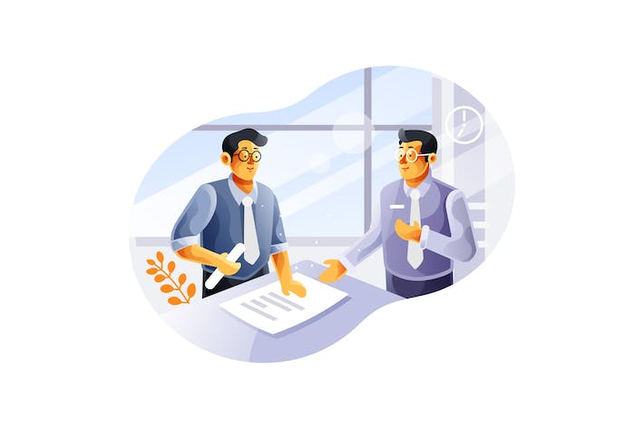 Thumbnail for Business meeting with two businessmen illustration
