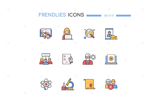 Online Education - Line Design Style Icons