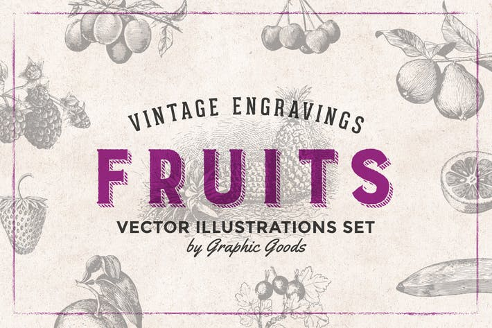 Thumbnail for Fruits Engraving Illustration Set