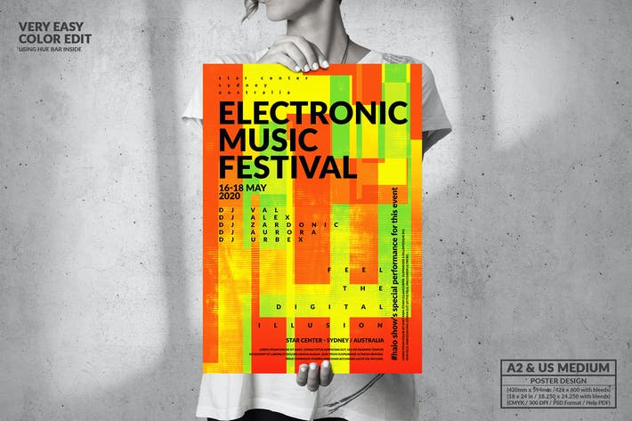 Thumbnail for Electronic Music Event Party - Big Poster Design