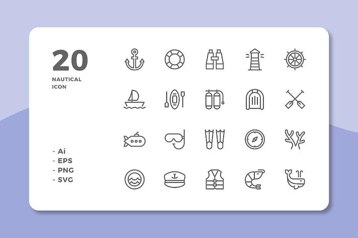 Thumbnail for 20 nautische Icons (Linie)