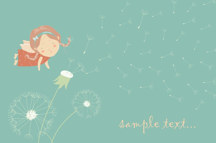 Thumbnail for Cute angel blowing on a dandelion. Vector