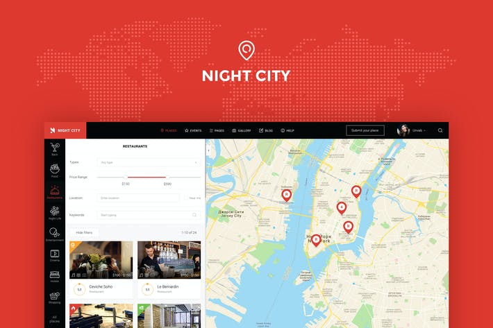 Thumbnail for Night City - Geolocation Directory PSD Template
