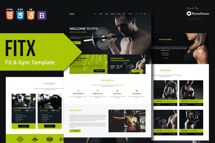 Cover Image For FitX - Fitness & Gym HTML Template