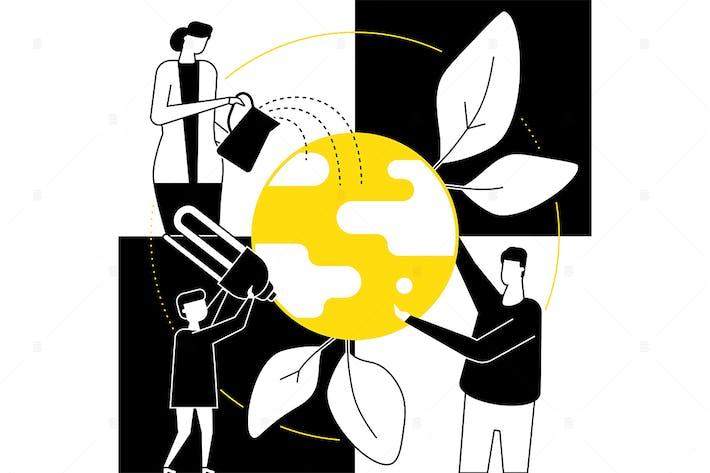 Thumbnail for Grüner Planet - flache Design-Stil Illustration