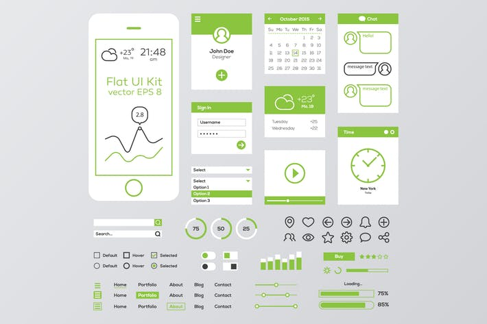 Cover Image For Green & White Flat Mobile Web UI Kit