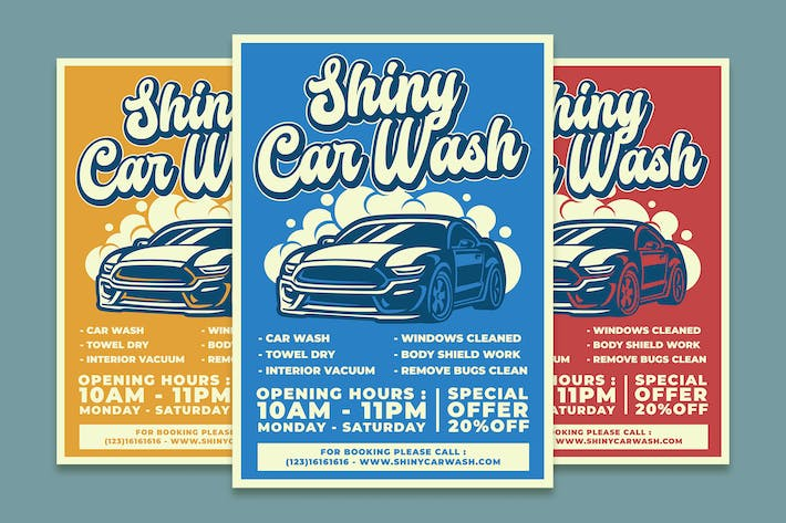 Thumbnail for Shiny Car Wash Service Flyer Template