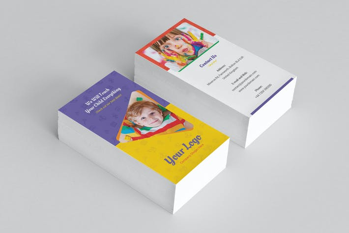 Thumbnail for Business Card – Kindergarten Vertical