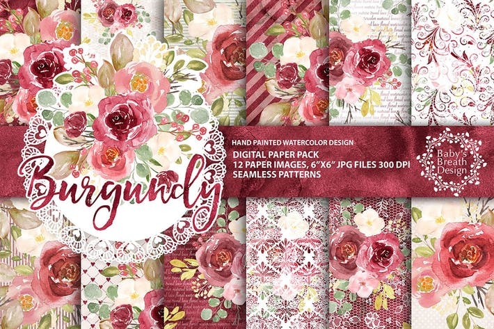Thumbnail for Burgundy floral digital paper pack