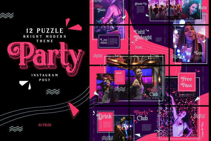 Thumbnail for Bright Puzzle Theme - Party Instagram Post