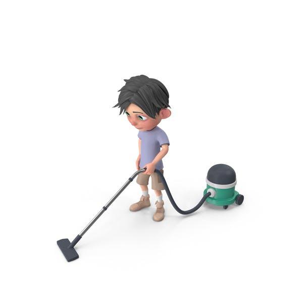 Thumbnail for Cartoon Boy Jack Vacuuming