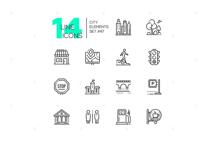 Thumbnail for City elements - set of line design style icons