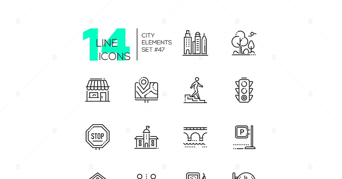 Download City elements - set of line design style icons by BoykoPictures