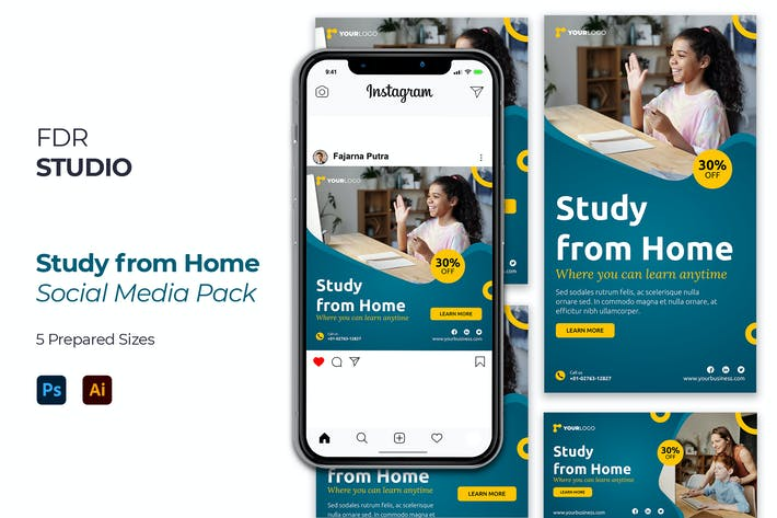 Thumbnail for Study from Home Social Media Pack