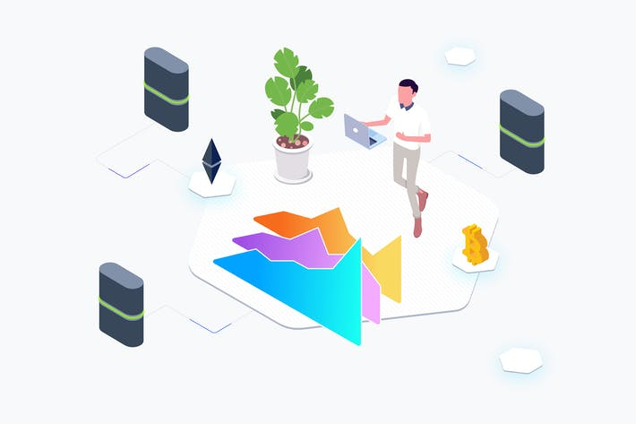Thumbnail for Trade Cryptocurrency Lab Isometric Graphic - THM