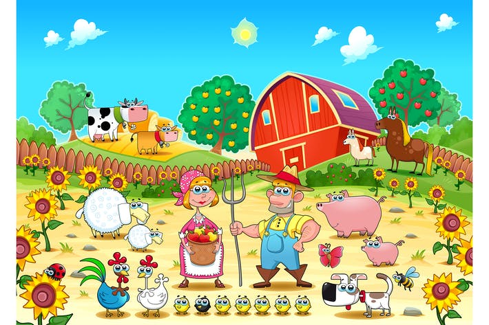 Thumbnail for Funny Farm Scene with Animals and Farmers