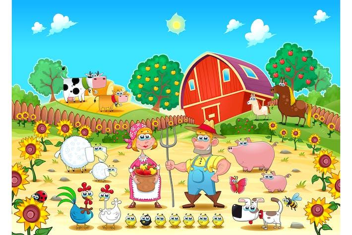 Thumbnail for Lustige Bauernhofszene mit Tieren und Bauern