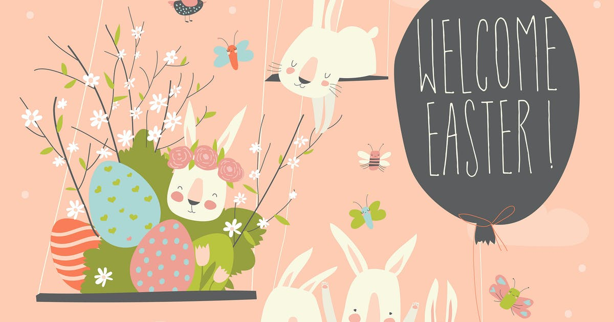 Download Cute cartoon bunny with Easter eggs and flowers. by masastarus