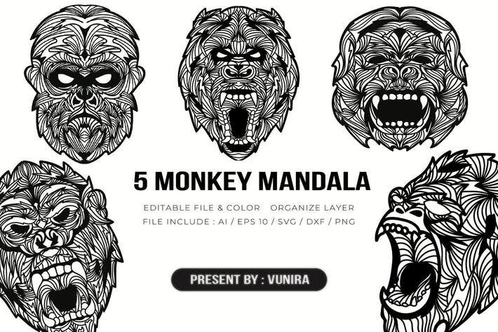 Thumbnail for 5 Monkey Mandala | Design Illustration
