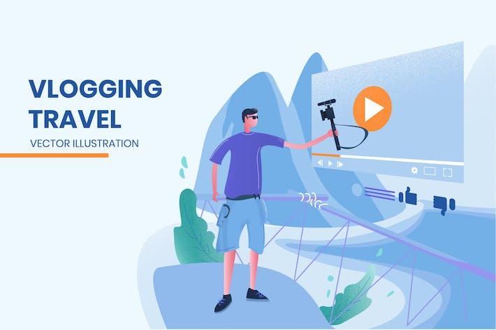 Thumbnail for Vlogging Travel - Vector Illustration