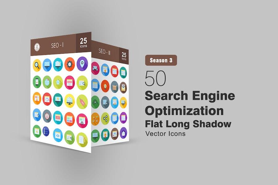 50 Optimización de motores de búsqueda Íconos largos sombreados