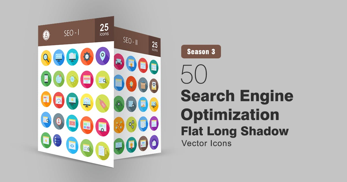 Download 50 Search Engine Optimization Long Shadowed Icons by IconBunny