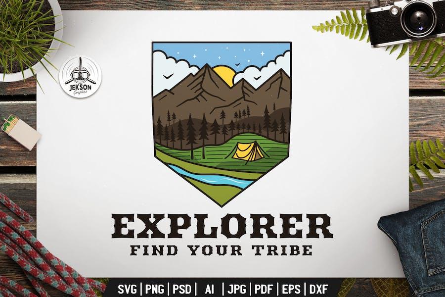 Explorer Emblem Modern Logo SVG. Travel Badge