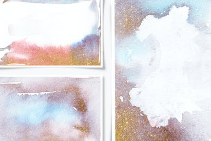 Ethereal Watercolor Shapes & Gold Leaves