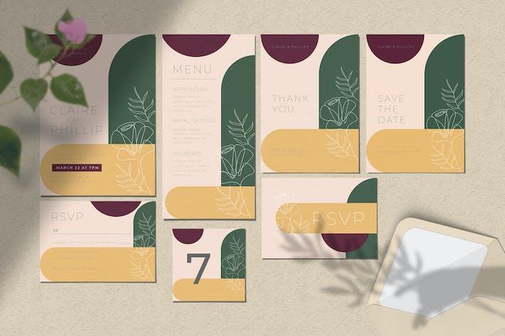 Thumbnail for Wedding Invitation Set - Floral & Geometric Style