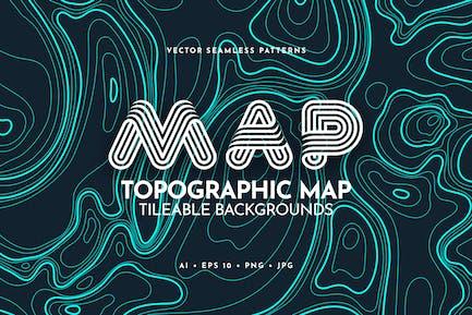Mapa topográfico de contorno Fondos en relieve