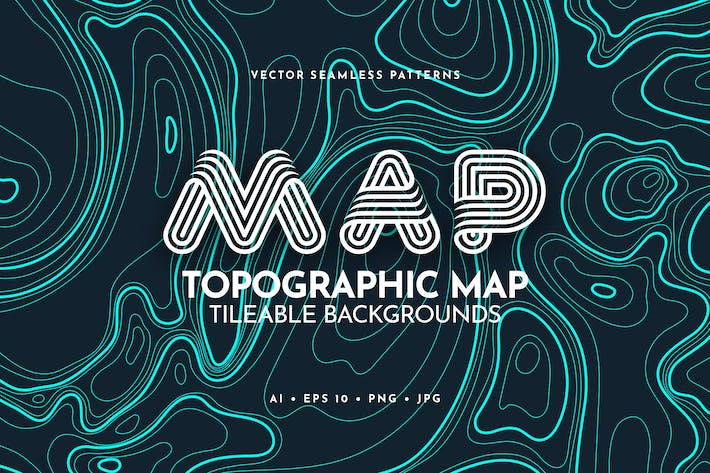 Thumbnail for Contour Topographic Map Tileable Backgrounds