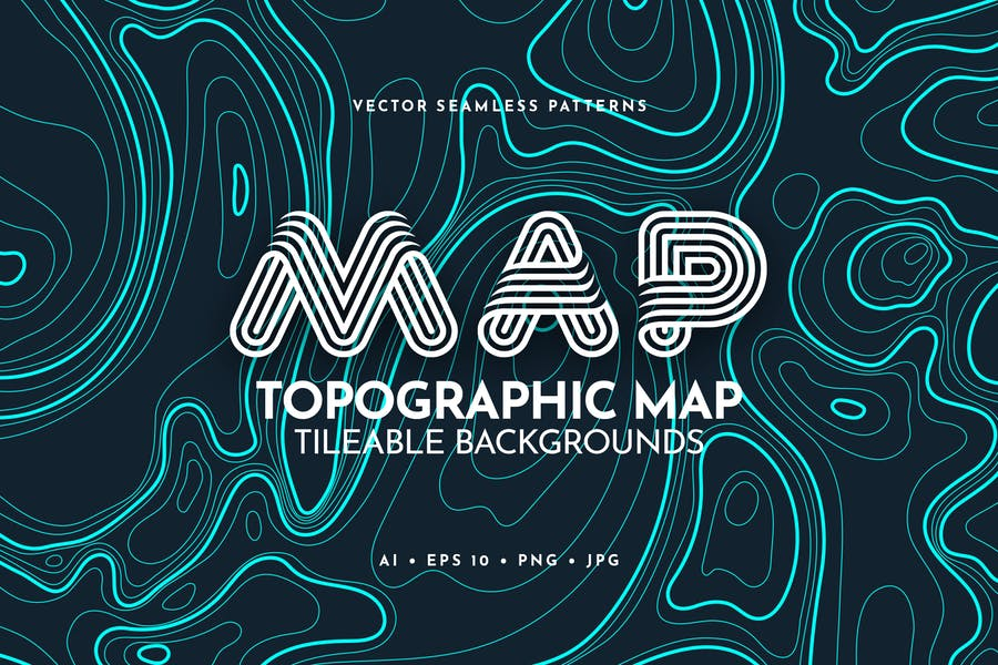 Contour Topographic Map Tileable Backgrounds