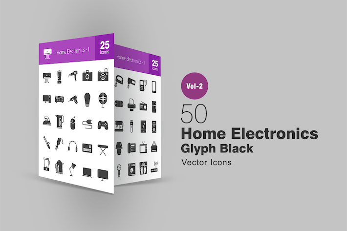 Thumbnail for 50 Home Electronics Glyph Icons
