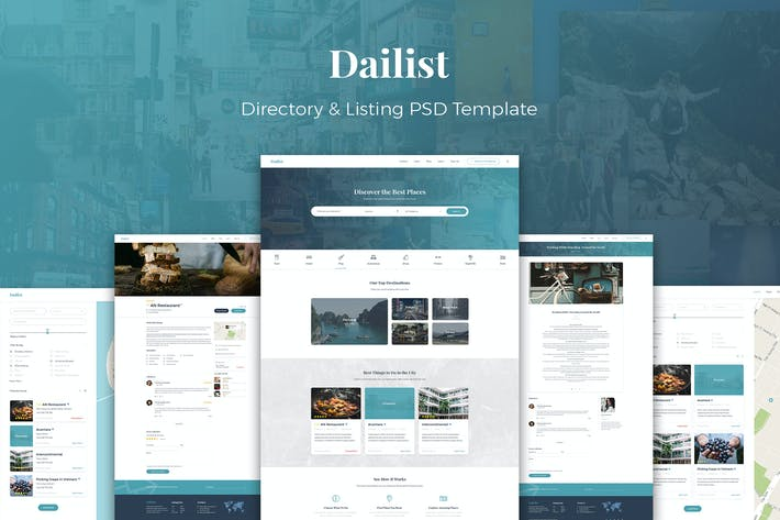 Thumbnail for Dailist - Directory & Listing PSD Template